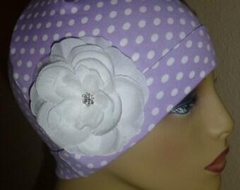 Lavendar and White Polka Dot Knit Chemo Hat with Flower, Girls Knit Polka Dot Chemo Hat