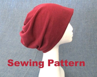 slouchy beanie hat sewing pattern, jersey beanie pattern, baggy beanie pattern, winter warm oversized ski hat pattern, women men hat pattern