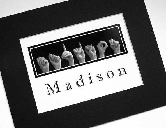 ASL Alphabet NAME Sign Language Personalized 5x7 Print In