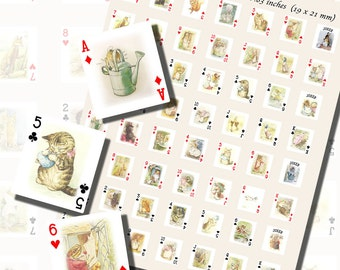 Beatrix Potter Characters Playing Card Printables, SCRABBLE TILE SIZE (.75 x .83 Inches or 19 x 21mm), 48 Total,