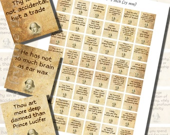 Shakespearean Insults Printables, ONE INCH SQUARES (25 mm), with 1/2 inch (13mm) and 3/4 inch (20mm) squares also included