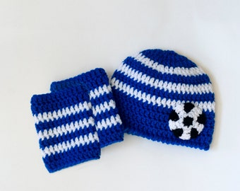SOCCER BABY, Blue White Soccer, Baby Soccer, Soccer Hat, Soccer Leg Warmers, Football Baby, Blue White Football, Knit Soccer, Baby Football