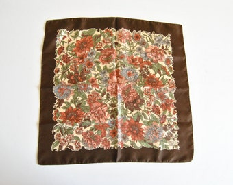 Small Liberty of London Square Silk Scarf Pocket Square Floral Brown