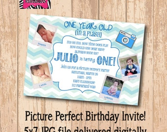 DIY Printable One Year in a Flash Party Invite