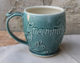 Custom personalized name mug, Teal Green, Gift, Present, Christmas, Mothers Day, Made To Order