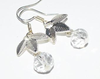 Leaf charm silver casual earrings
