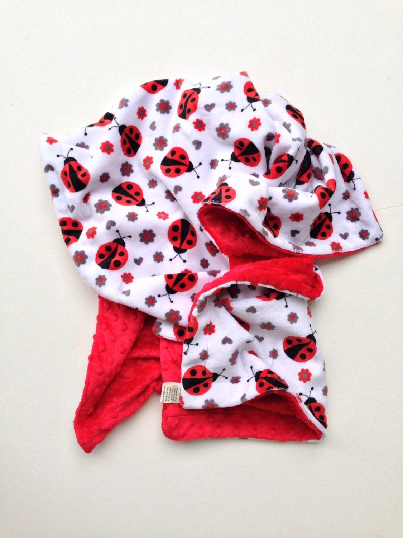Minky Toddler Blanket Ladybug Blanket Red Ladybug Red Grey
