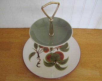 Vintage Stangl Pottery Orchard Song 2 Tier Tidbit Serving Tray Harkerware