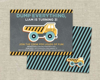 Construction Birthday Party Custom Invitation Printable