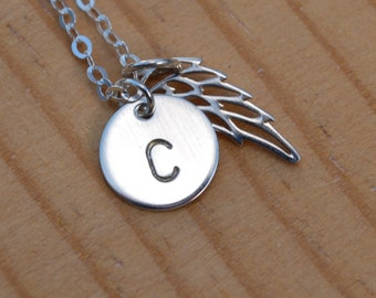 Initial necklace with wing charm, Sterling silver charm necklace, wing with monogram,  gift