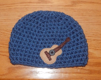 Guitar Crochet Beanie, Newborn Photography Prop, Photo Prop, Boy Beanie, Crochet Hat with Felt Applique