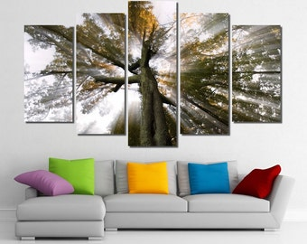 "60""x36"" Framed Huge 5 Panel Art Sun Tree Rays of Light Giclee Canvas Print - Ready to Hang"