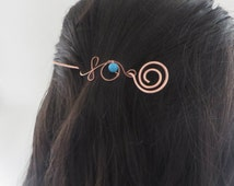 Spiral Hair Pin, Copper Hair Clip, Hair Accessory, Bun Clip, Hair Clasp, Wire Wrapped, Women, Girls