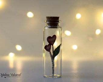 The Flower of Love in a miniature bottle - Vial with Love - Love in a bottle - Valentines Gift