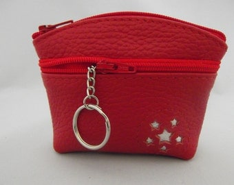 Tomato Red Leather Coin Purse.