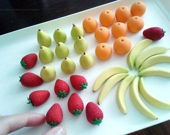 Gumpaste Fruit, Strawberry, Orange, Pear, Banana, Sugar Fondant Fruit / Choose 3 Items