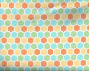 Peek A Boo Hexagon flannel fabric yellow blue orange green hexes - Diane Eichler for Studio e - by the continous YARD