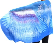 Blue Angel Wings Scarf, Sarong, Headwrap, Bohemian Wings Shawl, Mardi Gras, Burning Man, Bridesmaid Gift, Original design