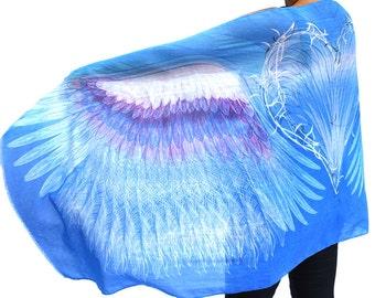 Blue Angel Wings Scarf, Cotton Sarong, Headwrap, Boho Shawl, Mardi Gras, Festival Scarf, Bridesmaid Gift, Symbolic Gift, Feathers shawl