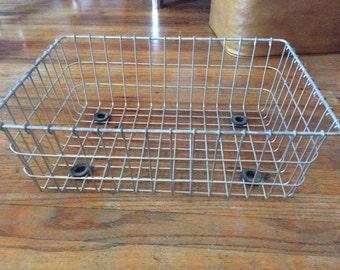 Vintage Industrial Metal Wire Basket with feet
