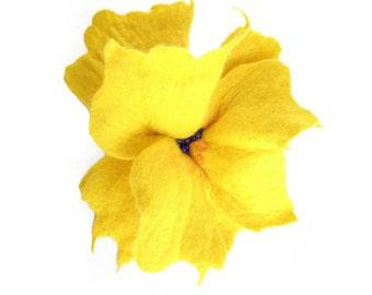 Felted Brooch Nunofelt Brooch Yellow Brooch nuno felt flower nunofelt silk flower folk boho wool victorian fairy