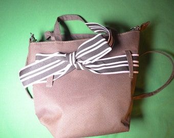 Very Cute Vintage Brown Canvas Bag With Top Handles and A Shoulder Handle