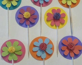 3D Colorful Flower Cupcake Toppers Birthday Party Spring Summer Celebration (12)