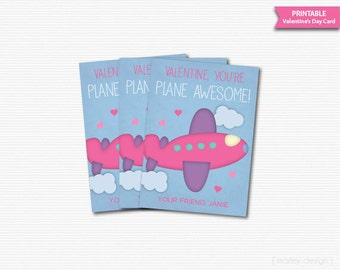 Pink Airplane Valentines Card Printable Pink Plane Valentines Card Classroom Valentines Plane Awesome Kids Valentines Cards Tags Favor Tags