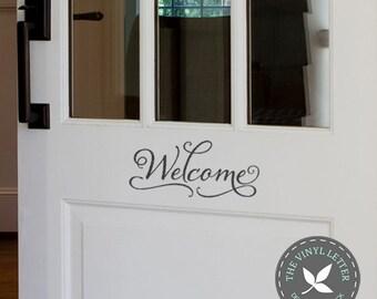 Welcome Elegant Sign Script Vinyl Front Door Decal