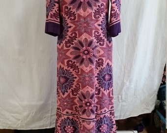 1960's pink and purple hippie caftan