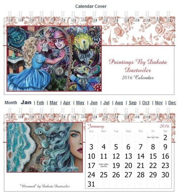 Small tent style Desk Calendar 2016 Paintings by