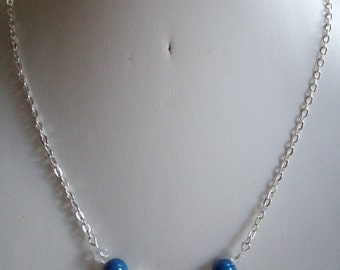 Cobalt Royal Blue Fossil Necklace with Clear Crystals and Crescent Silver Tube Bead