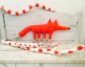 Foxie the fox, an original stuffed animal , made by me with vintage fabric!