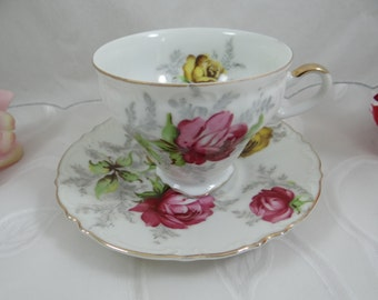 Vintage 1950s Norcrest Yellow and Purple Rose  Teacup and Saucer set - Lovely