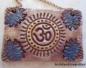 OM Symbol Ceramic Sign with Blue Lotus FLowers, Handmade Terracotta, Print Block Art, Yoga, Meditation, Spiritual Art, hiddenfirepottery
