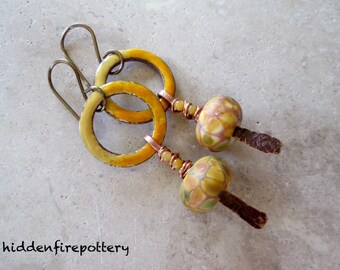 Sunshine on a Cloudy Day...Enamel Hoops, Forged Copper Sticks, Lampwork, Jade in Shades of Yellow, Torch Fired, OOAK Artisan, Boho Earrings