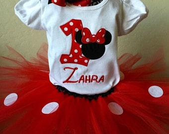 Classic Red Minnie Embroidered Birthday Tutu Outfit