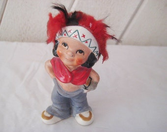 Little Indian boy statue, Native American figurine, mid century, 50s 60s, collectible