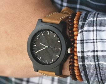 Mens Watch Leather Strap, Leather Strap Wood Watch, Mens Wrist Watch - BRLY-L