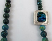 Long Necklace of Turquoise and Green Eilat Beads with a Twist