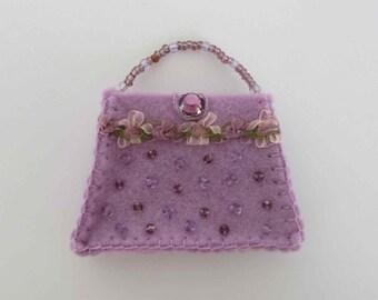 Lavender purple handbag brooch, Purple felt brooch, Handbag brooch, Handmade brooch