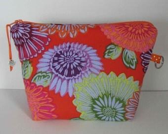 Kaffe Fassett fabric purse, Makeup Bag, Fabric Pouch with zipper, Clutch purse, Travel bag, Cosmetic bag