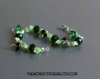 Greener Gardens beaded bracelet / jewelry / etsy / handmade / local / nature / green / floral / silver / boho / gifts for women / artist