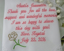 Aunt gift, Gifts for Aunt, Aunt Wedding Handkerchief, Embroidered Personalized Wedding Hankerchief, Hankie, Hanky-Aunt gift from niece -Love