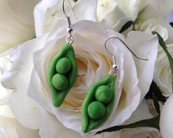 Cute Polymer Clay Pea Pod Earrings