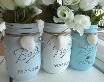 Painted Mason Jar Vases, Beach side cottage centerpiece