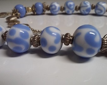 Was 59.95! Unique One of a Kind lampwork Bead Necklace in Periwinkle Blue and White
