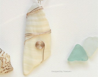 Shell pendant with story, rose gold wire wrapped, gift under 20, sea shell, Bahamas