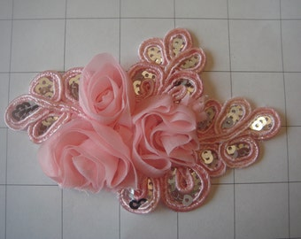 """Pink Flower and Sequins Braided Applique 4 1/2"""" by 3 1/4"""""""