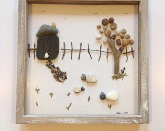 Pebble Art, Rustic Farmhouse, Countryside Stones, Countryside Picture, Farmyard Picture, Countryside Pebble Art, Farmyard House,
